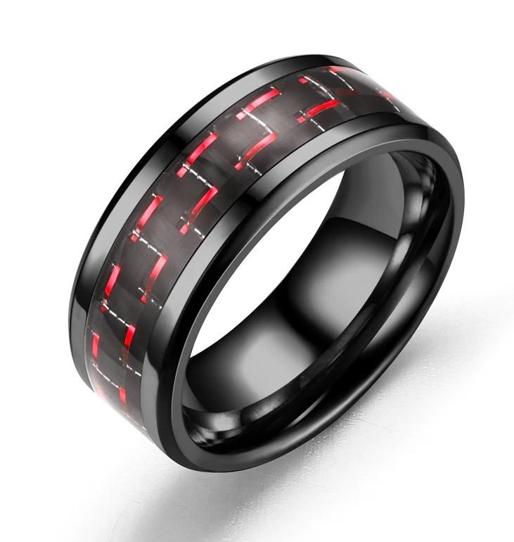 Anel Tungstenio Preta Com Fibra De Carbono Vermelha