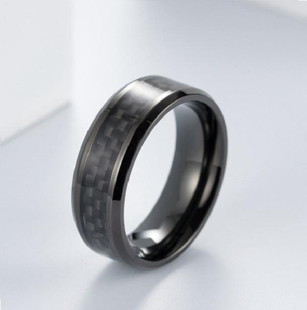 Anel Tungstenio Preto 8MM Com Fibra De Carbono Preto