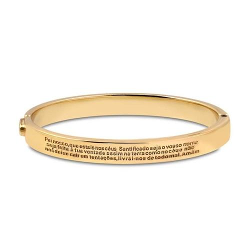 Bracelete Dourado com Oração Pai Nosso