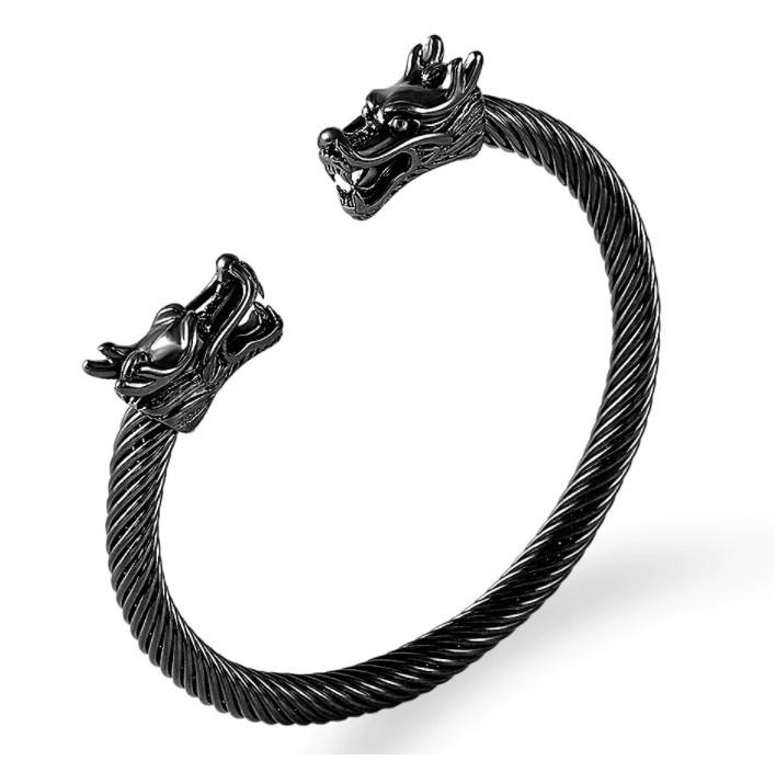 Bracelete preto Viking Dragão Nórdico Ragnar Aço Inox