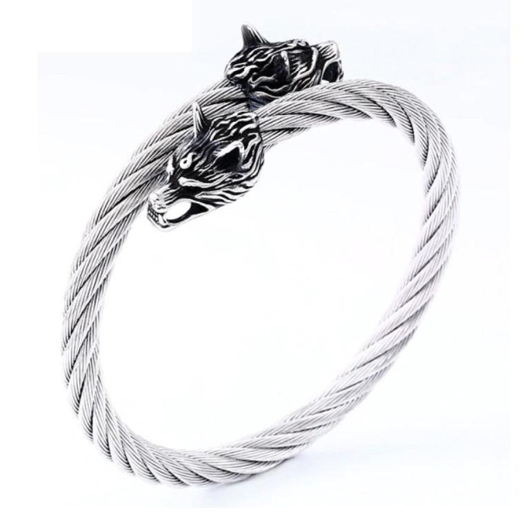 Bracelete Viking Cabeça De Lobo