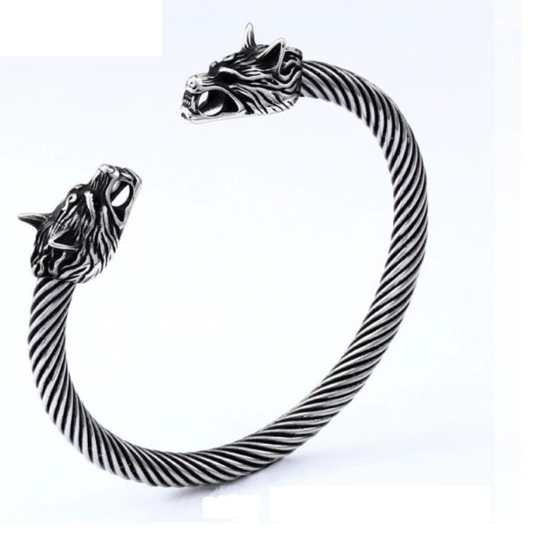 Bracelete Viking Cabeça De Lobo Aço Retorcico