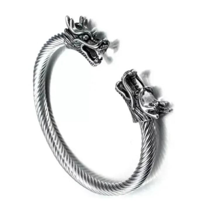 Bracelete Viking Dragão Nórdico Ragnar Aço Inox