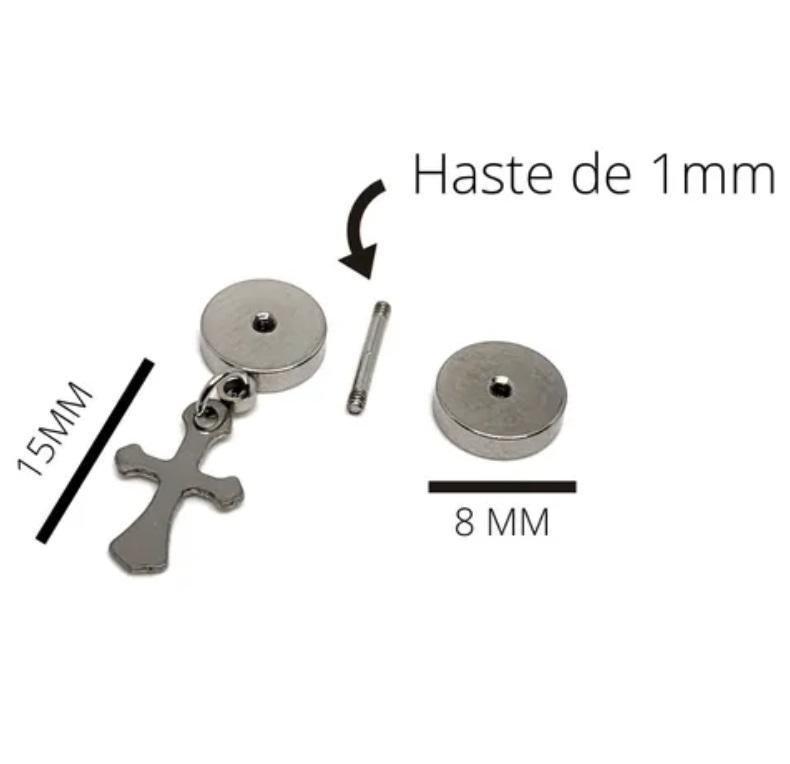 Brinco Masculino Falso Alargador Com Cruz Prata - PAR