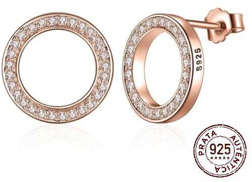 Brinco Prata 925 Feminino Luxo Rose