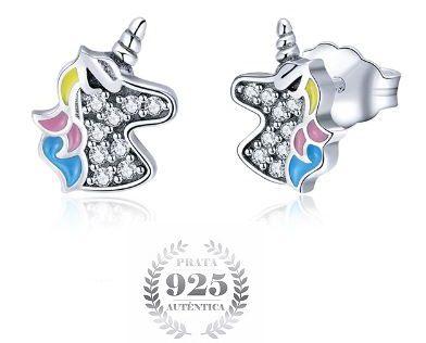 Brinco Prata 925 Feminino Unicornio