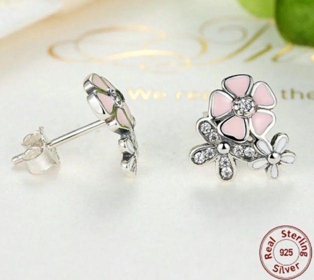 Brincos Prata 925 Feminino Estilo Pandora Poesia Das Flores