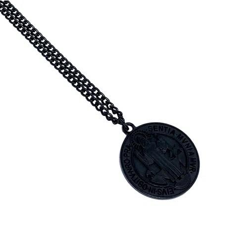Colar Corrente Medalha de São Bento - Black Edition