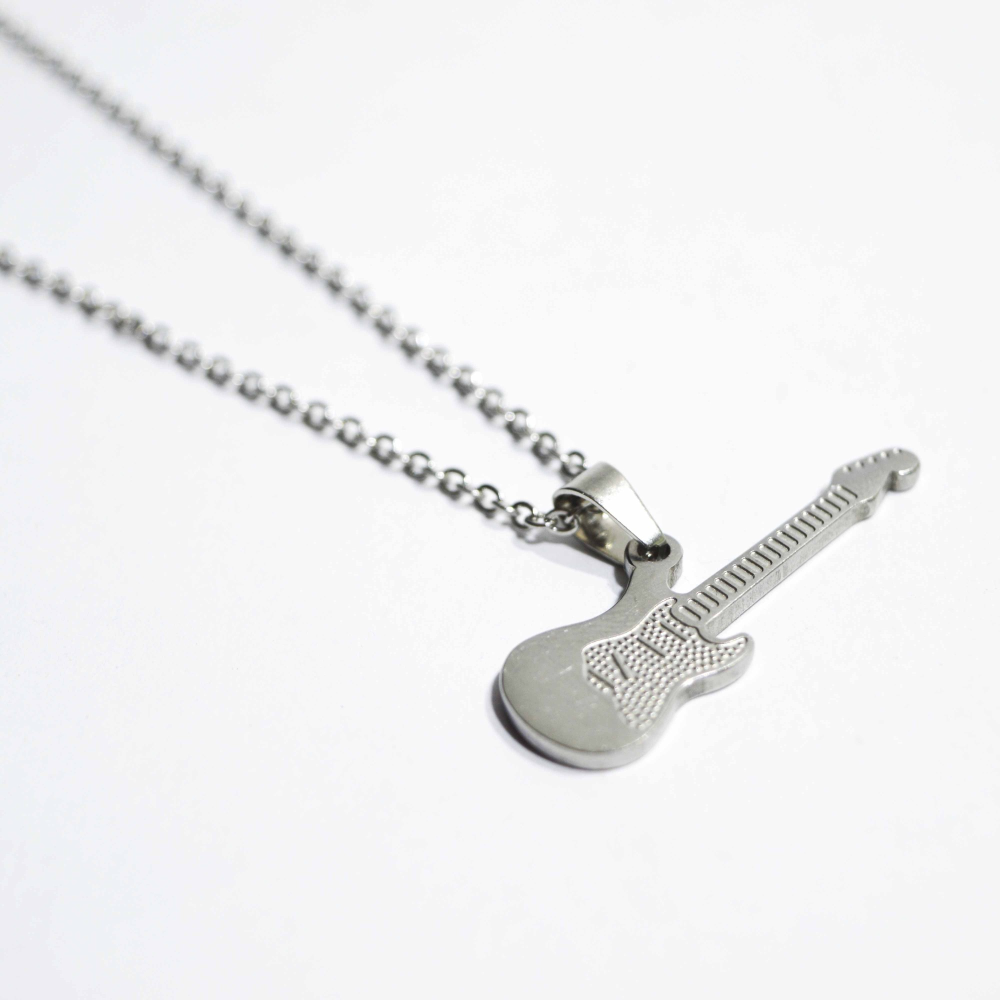 Colar Corrente Pingente Guitarra Aço 316l