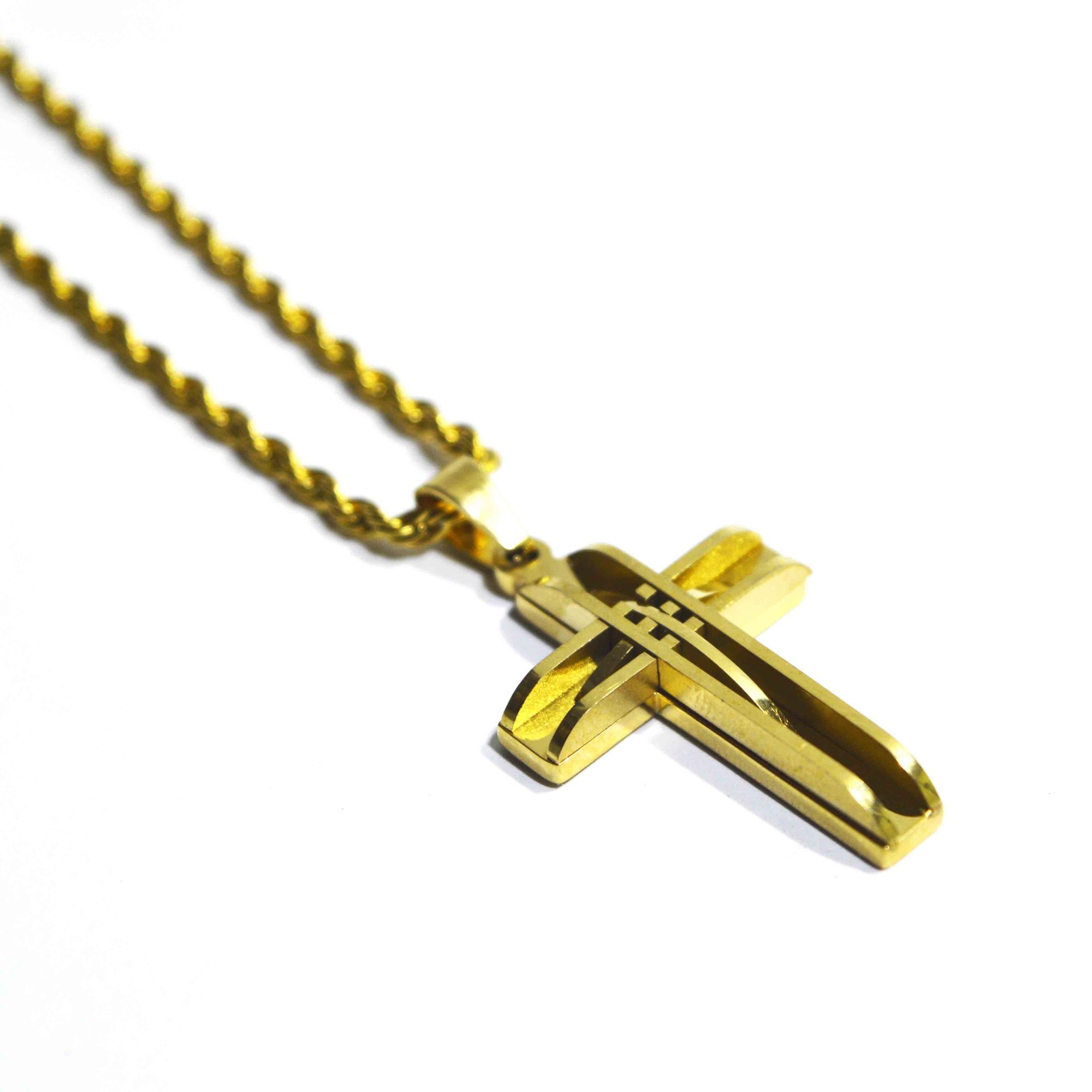 Colar em Aço Crucifixo Dourado