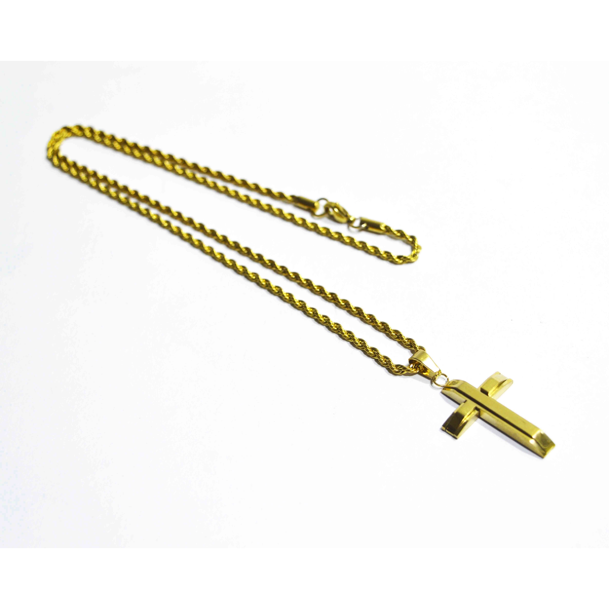 Colar em Aço Crucifixo Dourado Premium