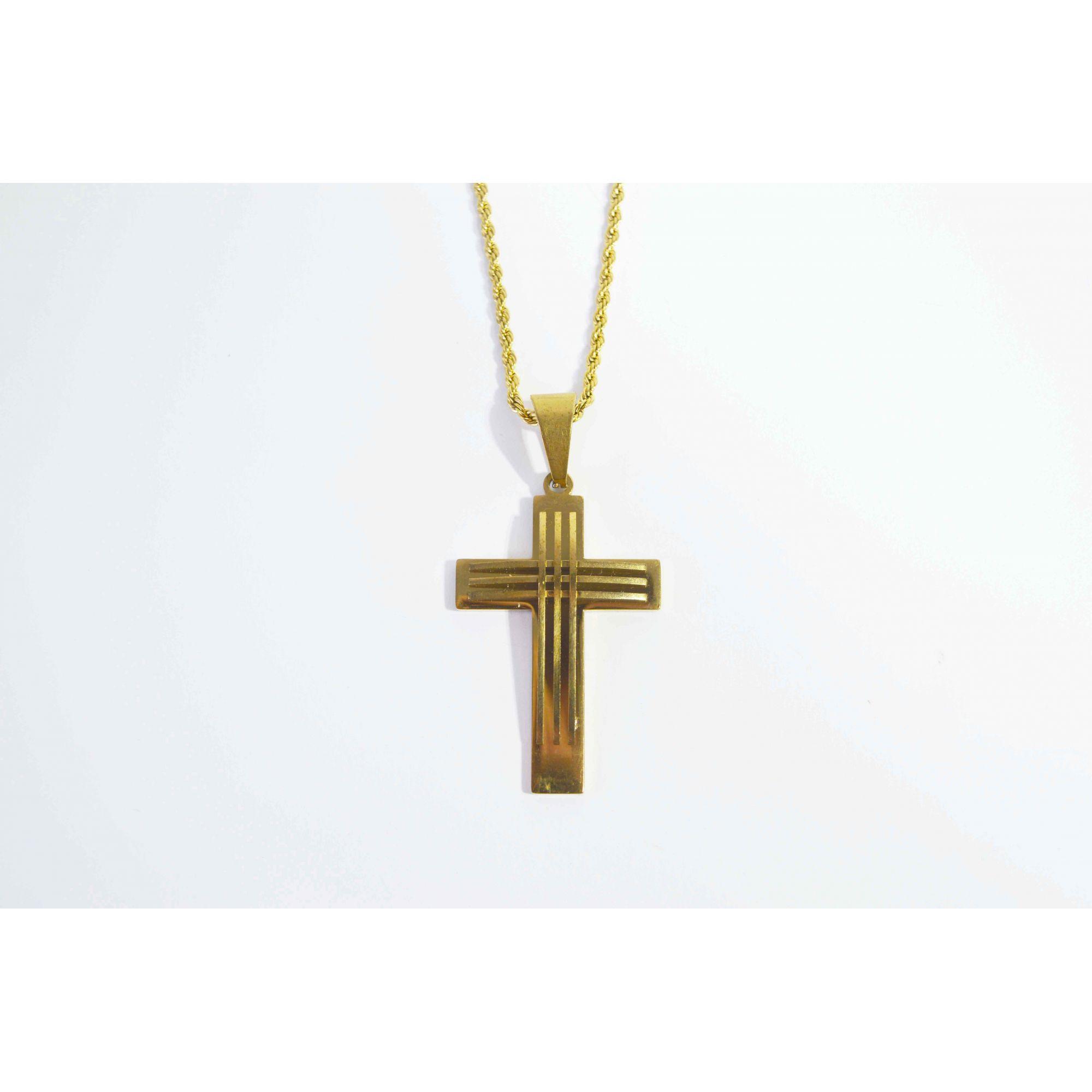 Colar em Aço Crucifixo Future Gold
