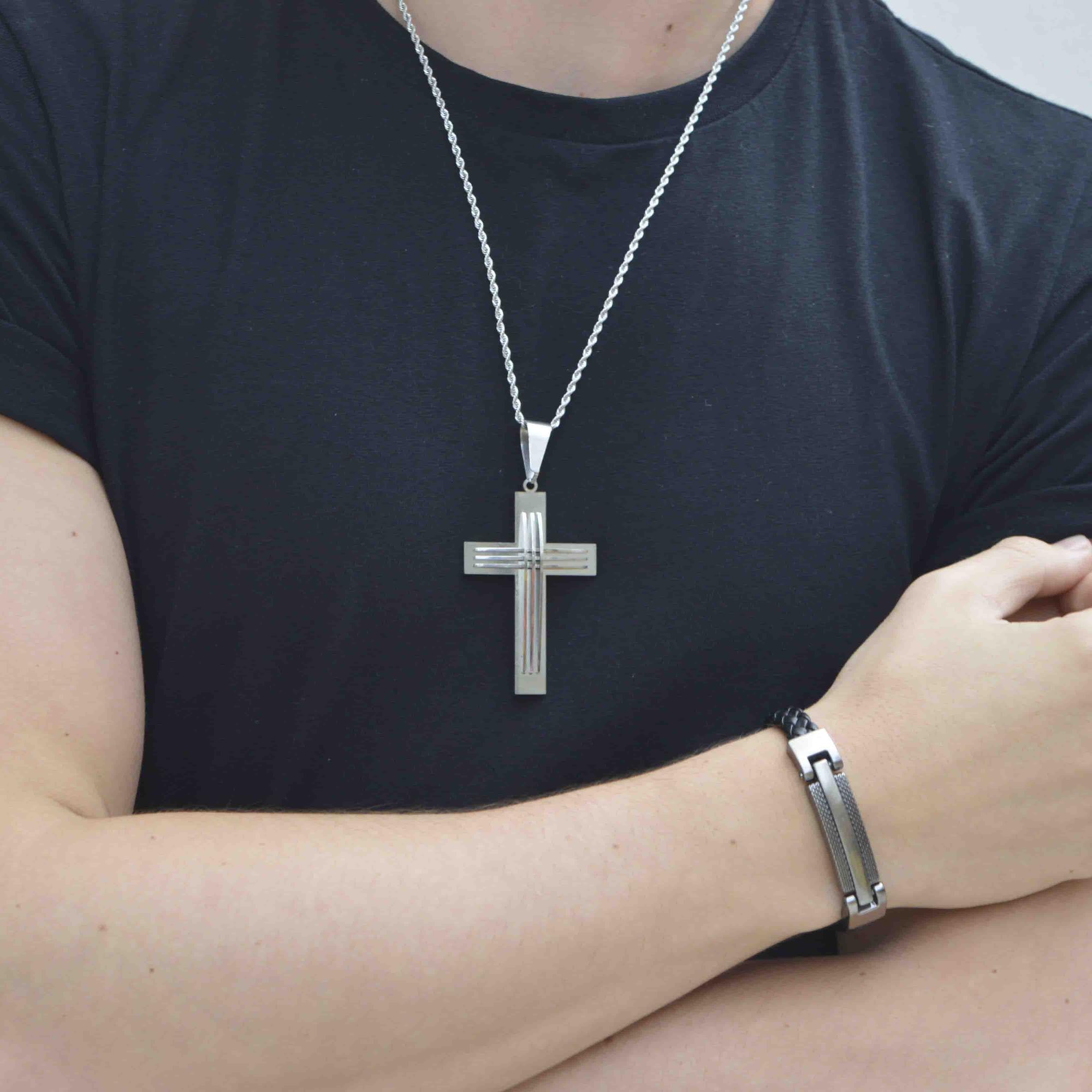 Colar em Aço Crucifixo Future Long