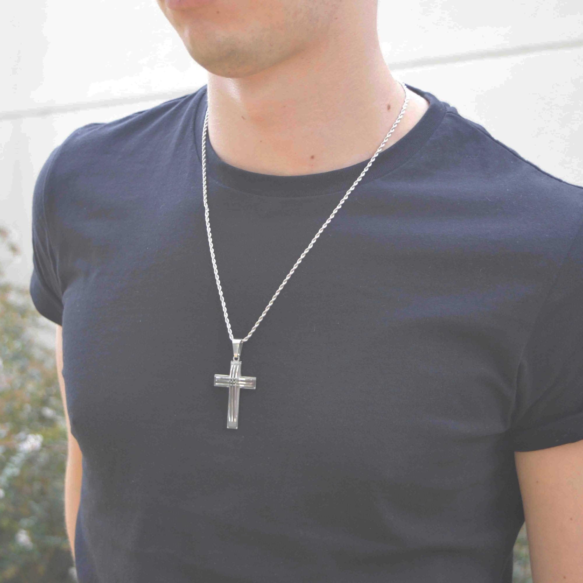 Colar em Aço Crucifixo Future Silver
