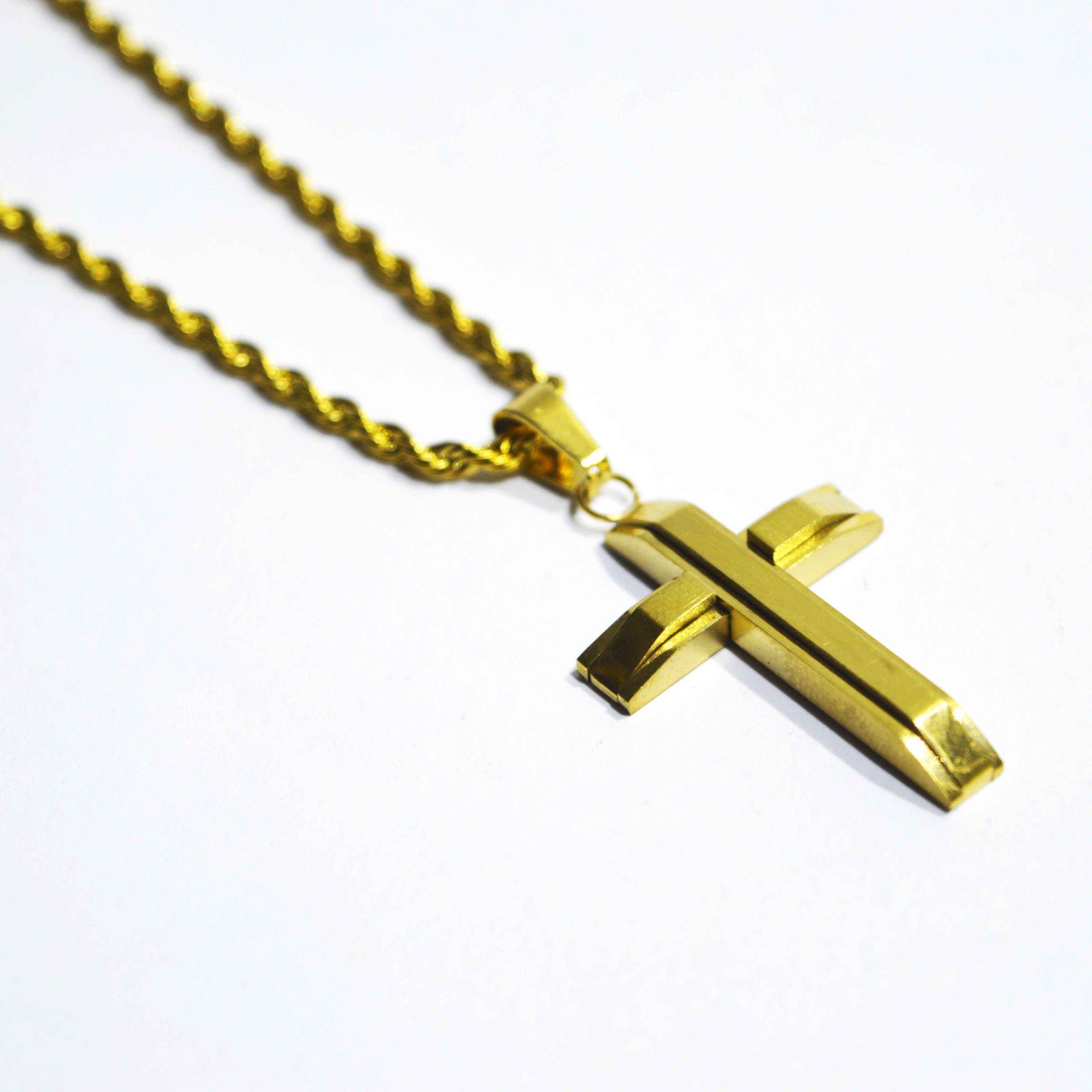 Colar em Aço Crucifixo Gold