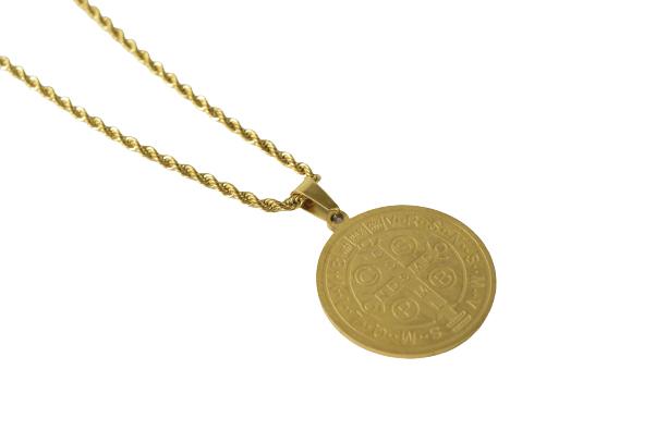 Colar em Aço dourado Medalha de São Bento