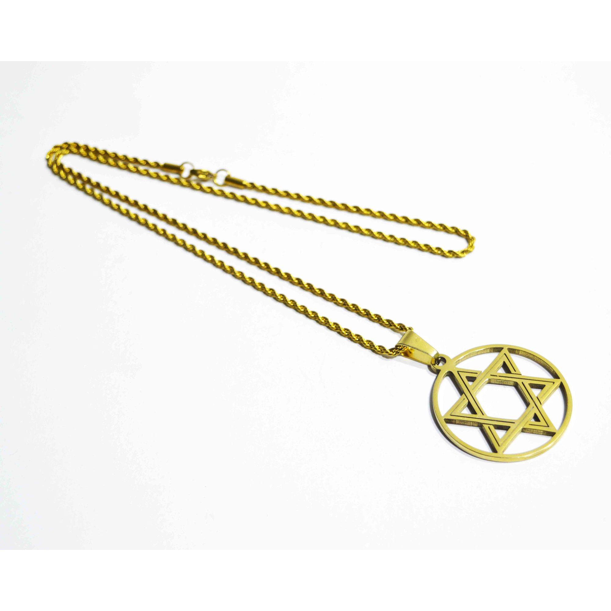 Colar em Aço Estrela de Davi Gold