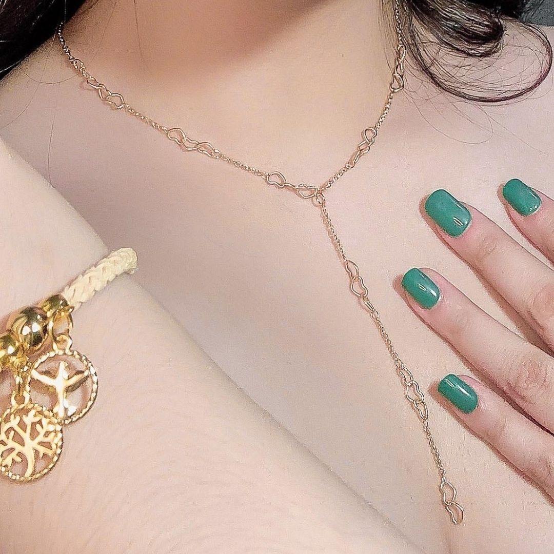 Colar Gravatinha Corações Dourado Marli