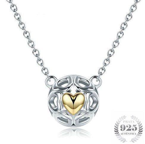 Colar Prata 925 Coração Dourado