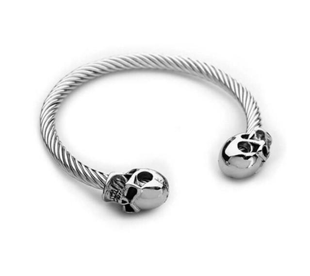 Pulseira Masculina Skull Silver
