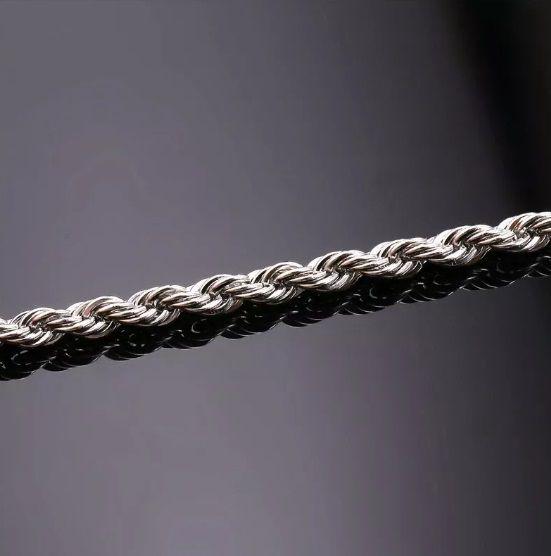 Pulseira Masculina Trançada Cordão Torcido 4mm Aço Inox 316l