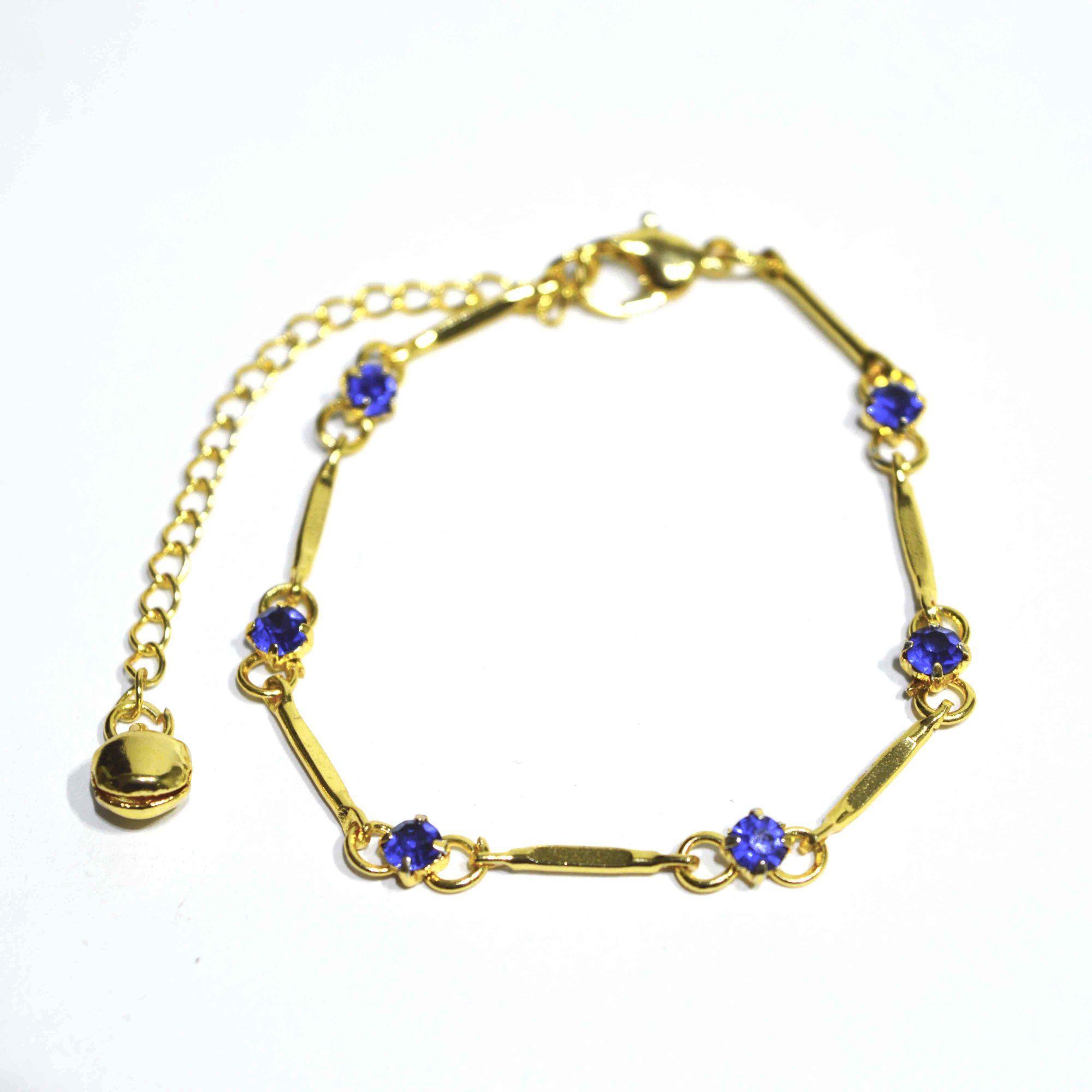 Pulseira Shine Feminina Aço Dourado Pontos Azuis