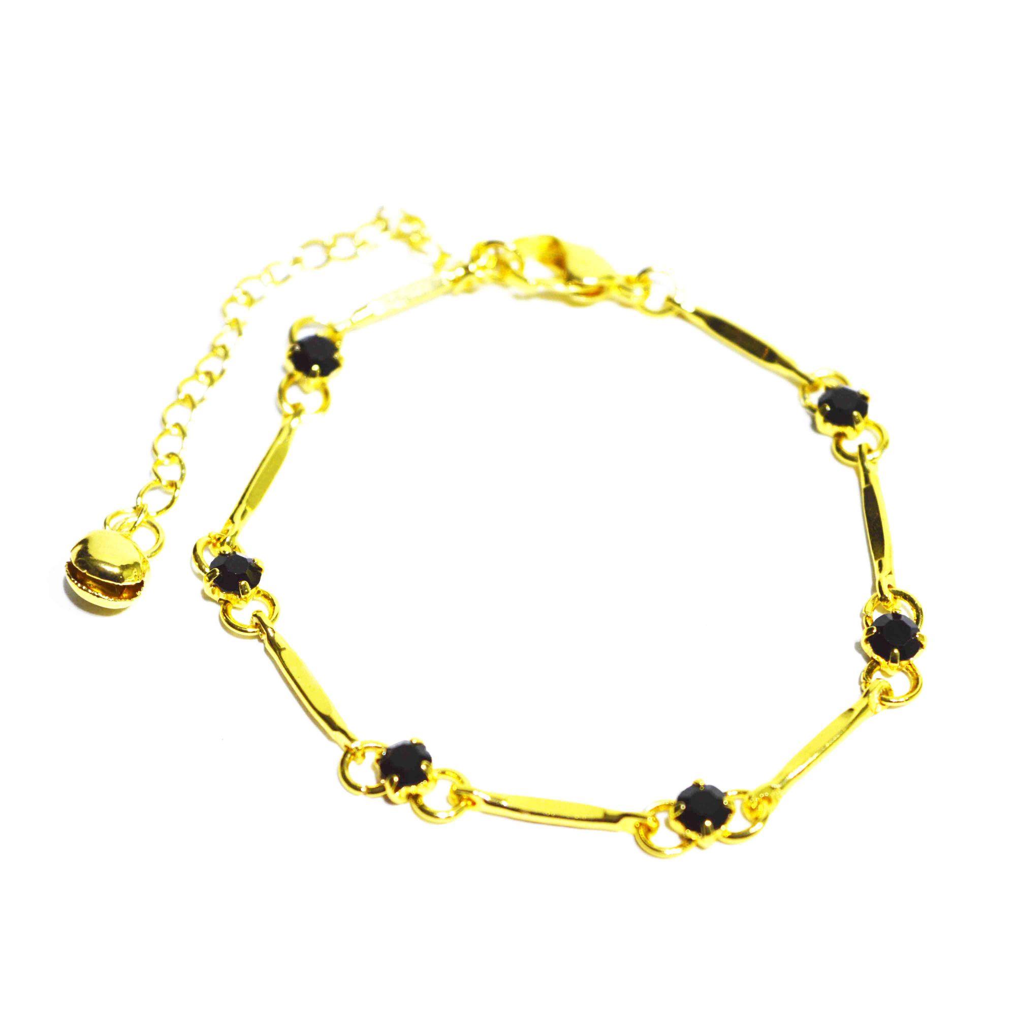 Pulseira Shine Feminina Aço Dourado Pontos Pretos