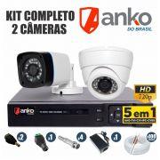 Kit CFTV Anko Completo 2 Câmeras AHD 720p DVR 8 Canais