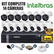 Kit CFTV Intelbras Completo 14 Câmeras AHD 720p DVR 16 Canais