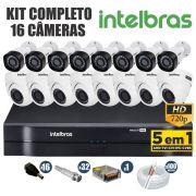 Kit CFTV Intelbras Completo 16 Câmeras AHD 720p DVR 16 Canais