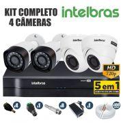 Kit CFTV Intelbras Completo 4 Câmeras AHD 720p DVR 4 Canais
