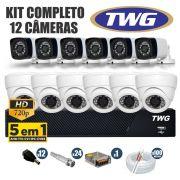 Kit CFTV TWG Completo 12 Câmeras AHD 720p DVR 16 Canais