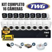 Kit CFTV TWG Completo 16 Câmeras AHD 720p DVR 16 Canais