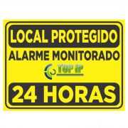 Placa De Advertência Alarme Monitorado Local Protegido C/ 2 Unidades