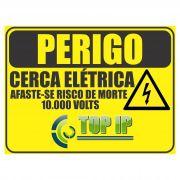 Placa De Advertência Perigo Cerca Elétrica 10.000V C/ 2 Unidades