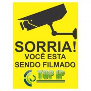 Placa De Advertência Sorria Você Esta Sendo Filmado C/ 2 Unidades