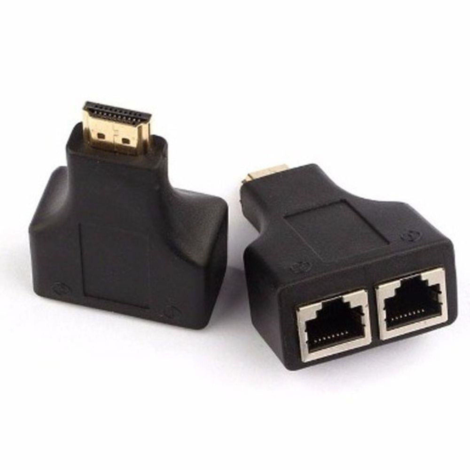 Adaptador HDMI 3D Cabo De Rede Utp Rj45 Cat5/6 Lan Ate 30m C/ 2 Unidades