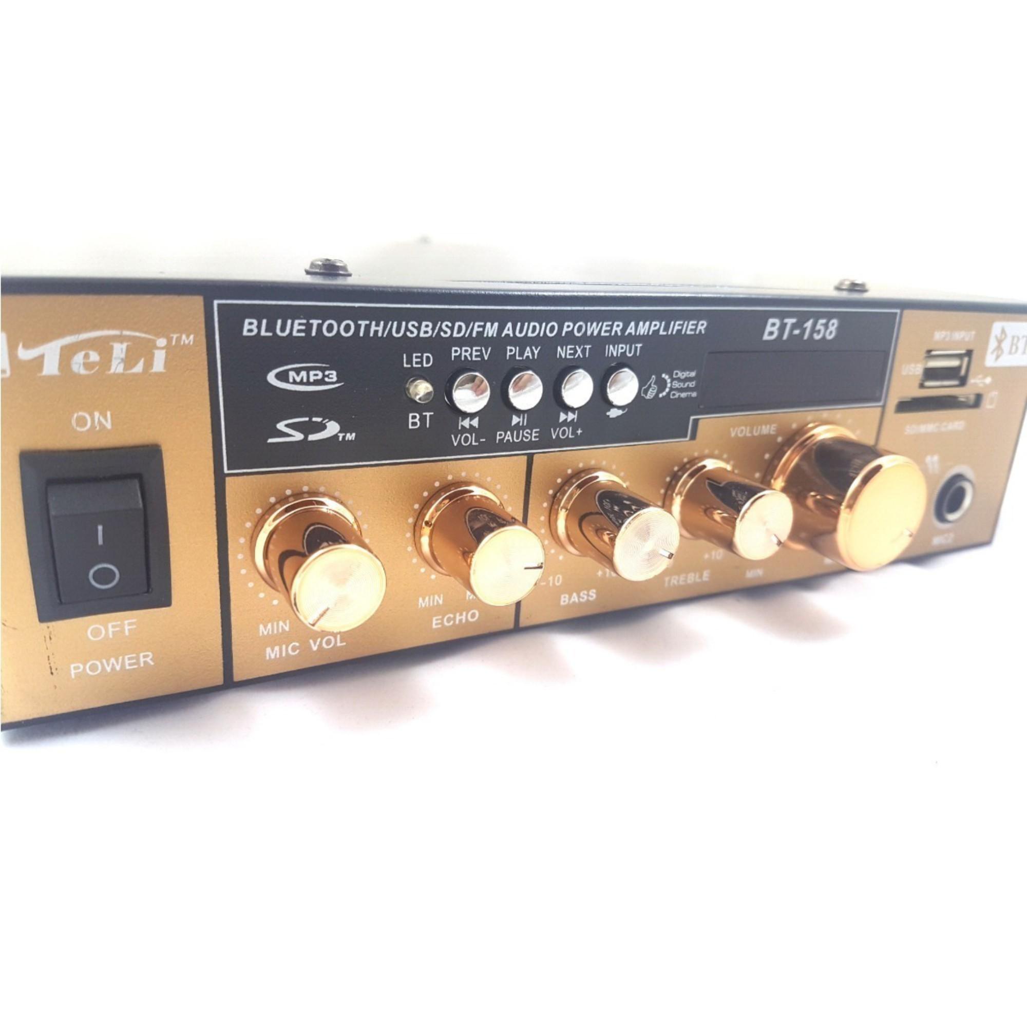 Amplificador de Áudio Receiver C/ Bluetooth USB Som Ambiente
