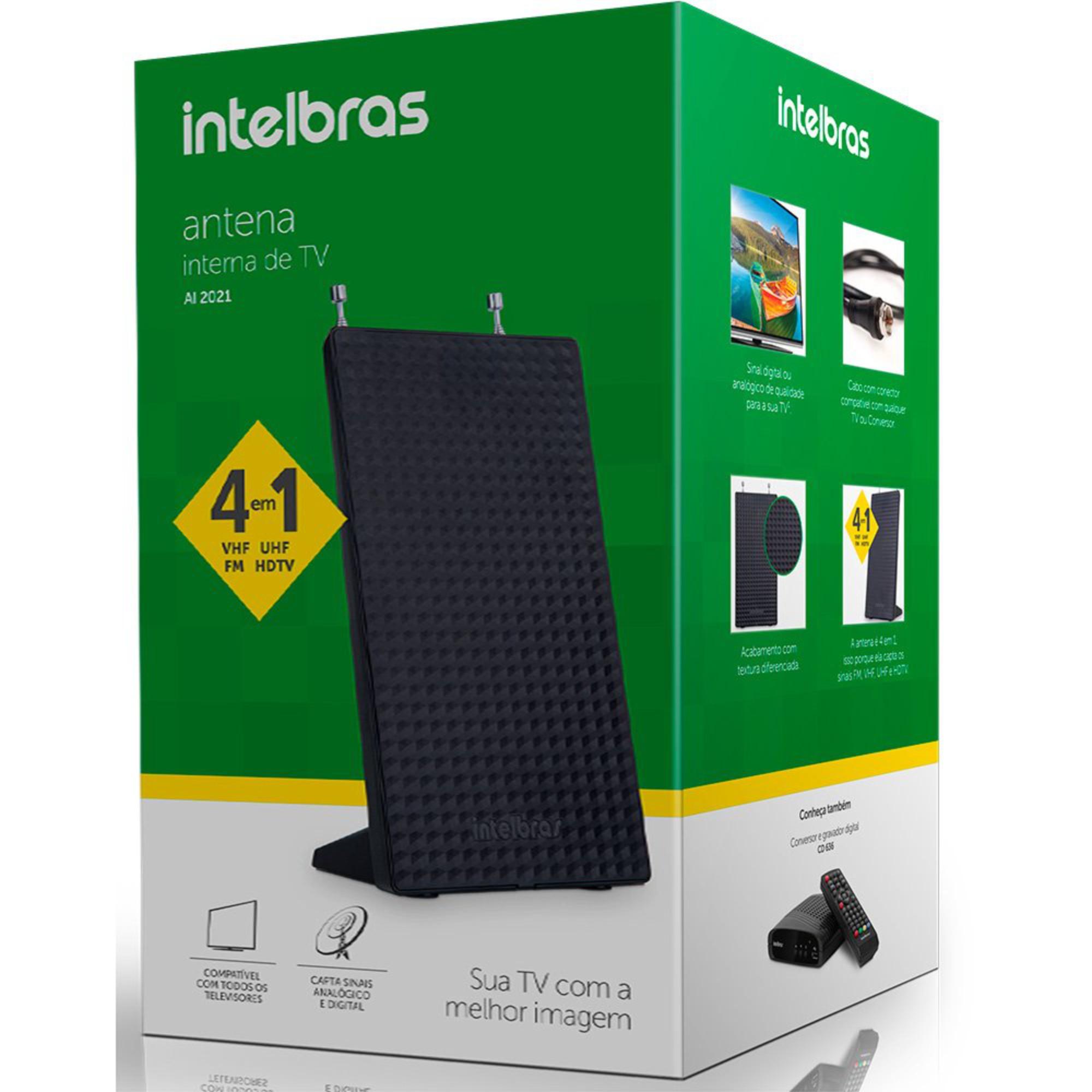 Antena Interna Digital Intelbras 4 Em 1 UHF/VHF/HDTV