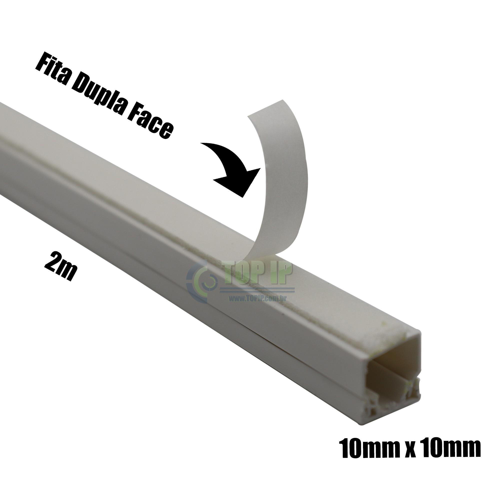 Canaleta sistema 10x10x2000mm C/ Fita Dupla Face