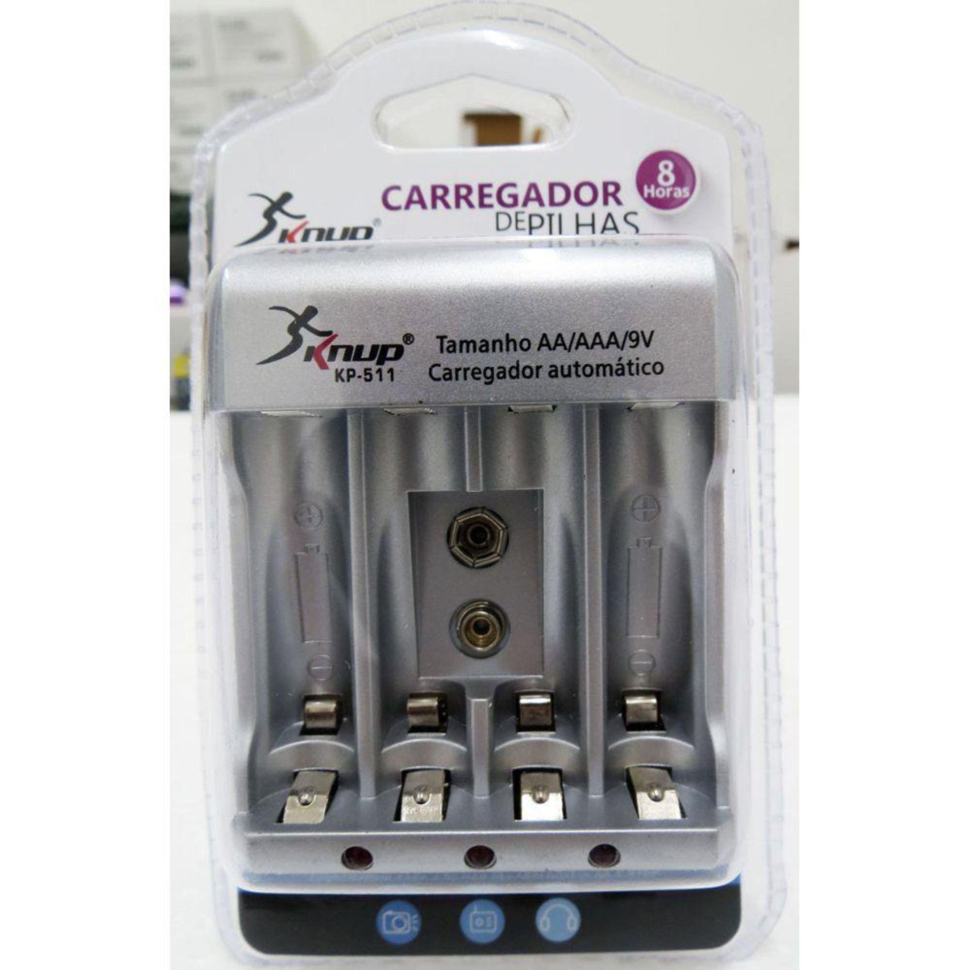 Carregador De Pilha P/ 4 Pilhas AA/AAA E Bateria 9v