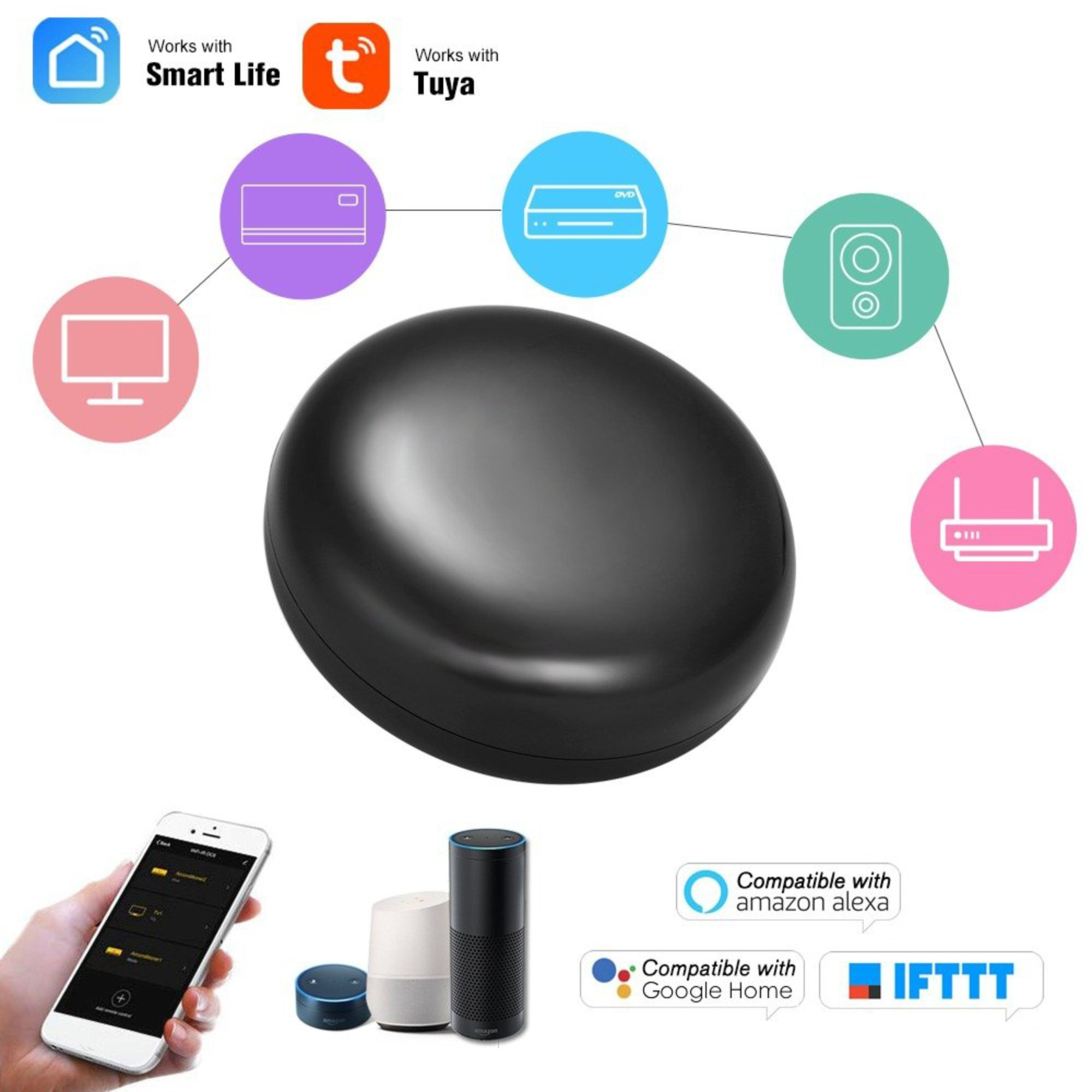 Controle Remoto Inteligente Infra Vermelho Compatível Google Home e Alexa