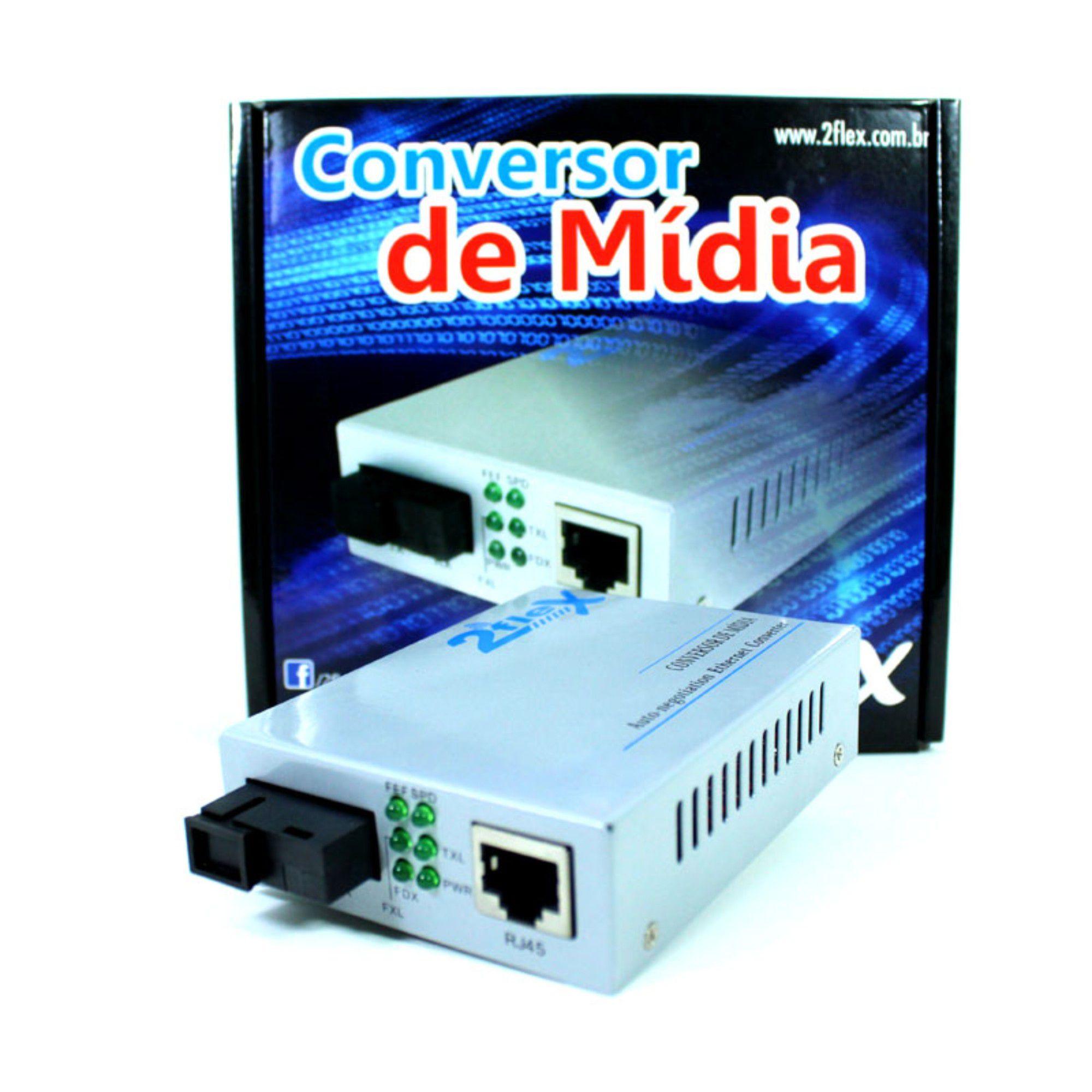 Conversor De Mídia P/ Fibra Óptica La 20km 2Flex