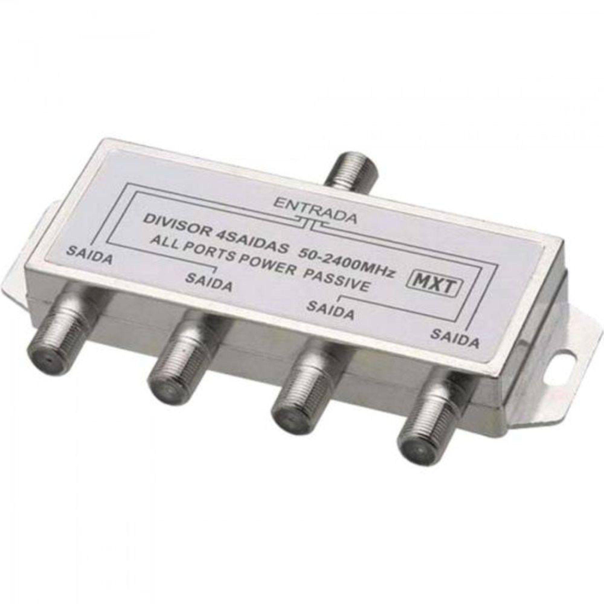 Divisor De Antena 1 X 4 5.100MHz Para Cabo Coaxial C/ 2 Unidades