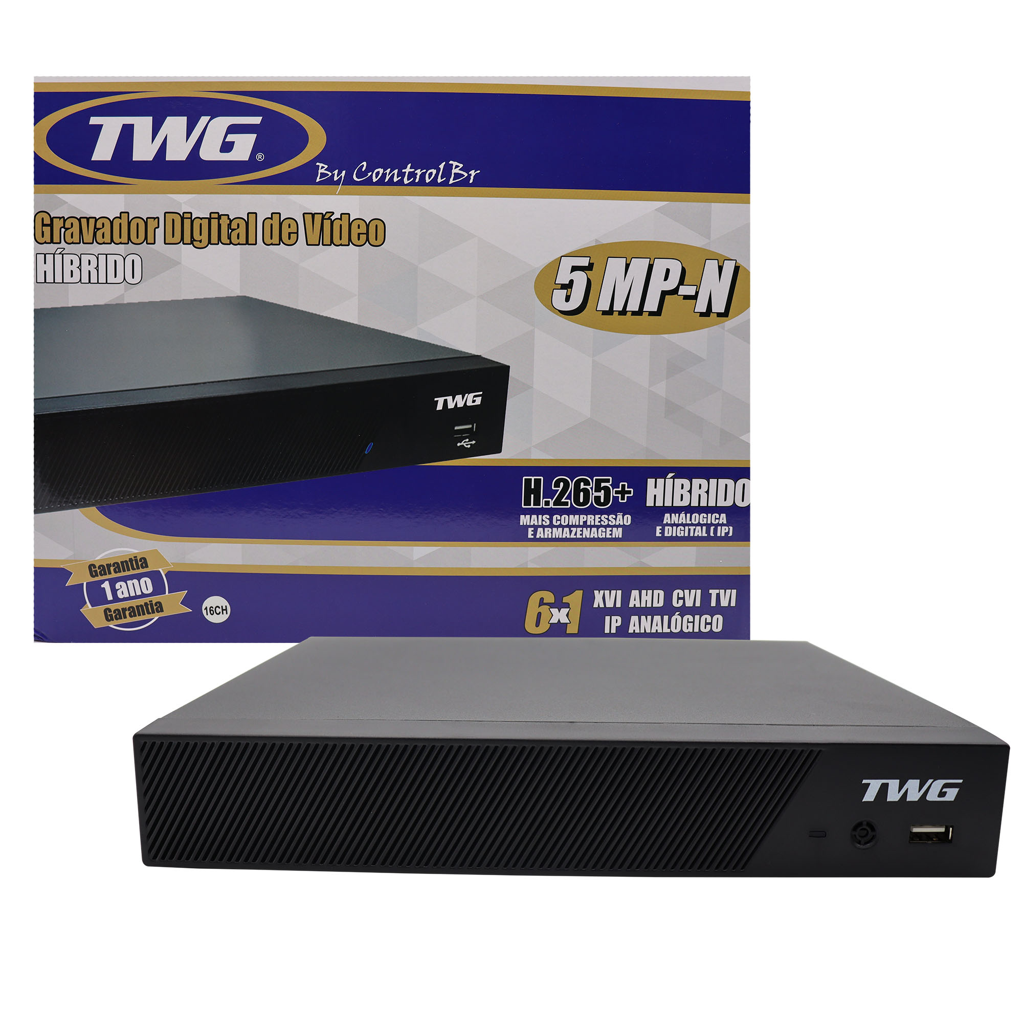 DVR Stand Alone 16 Canais Full HD Detect 6 em 1 TWG