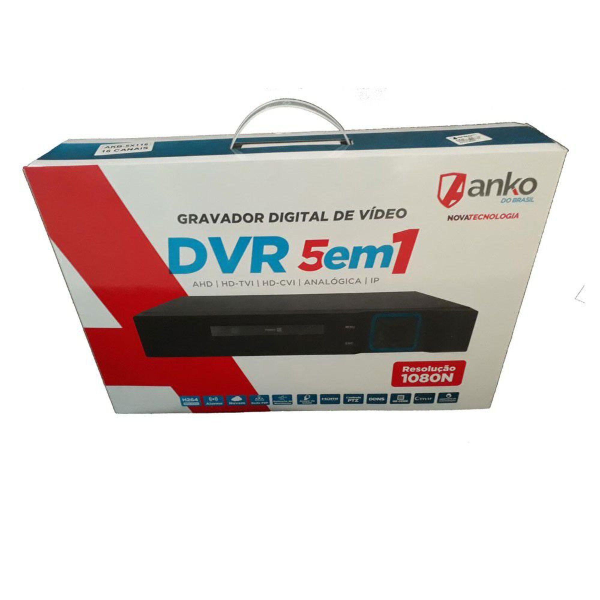 DVR Stand Alone 8 Canais Anko Full HD 1080n 5 em 1