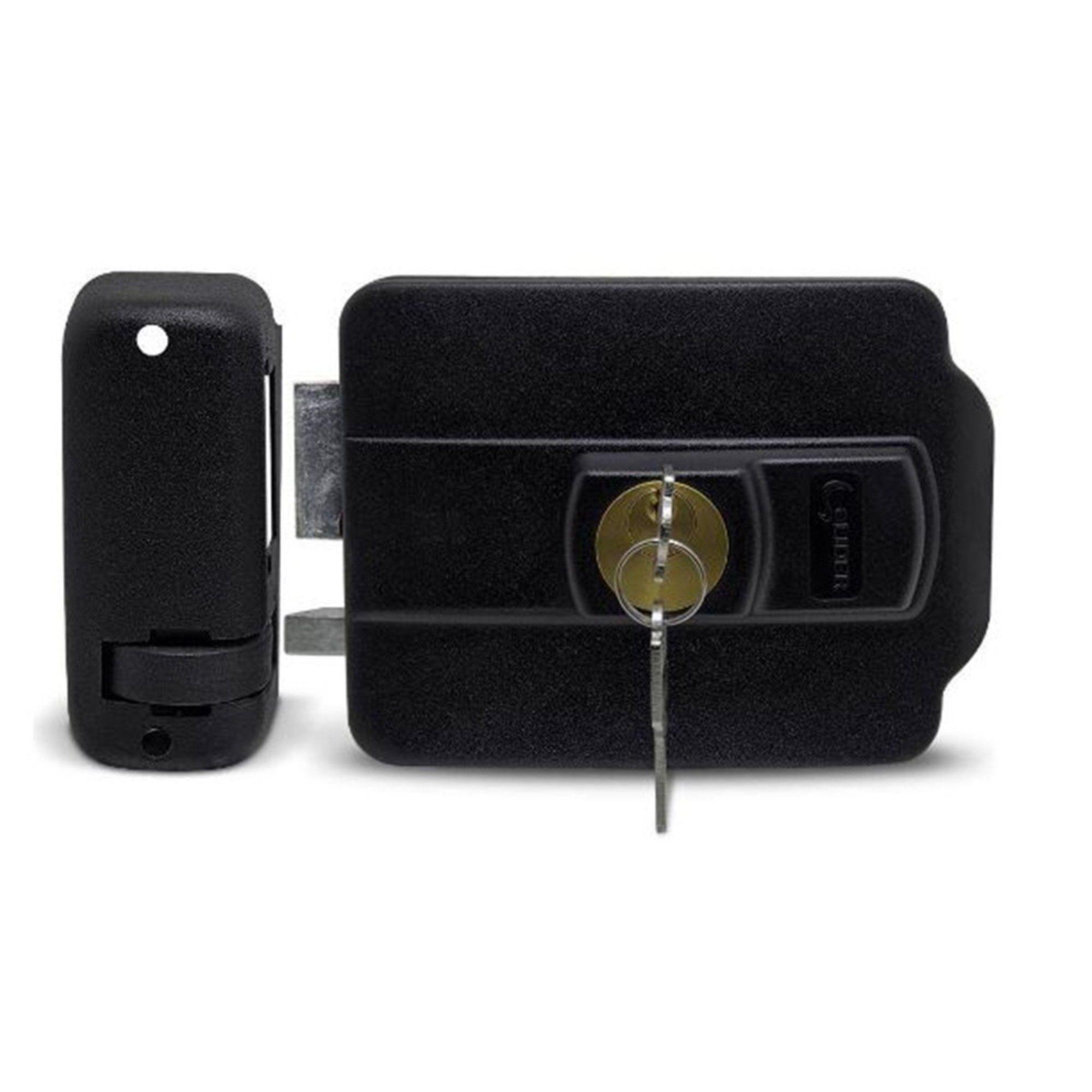Fechadura Elétrica Com Botão Líder LR120B Abertura P/ Dentro