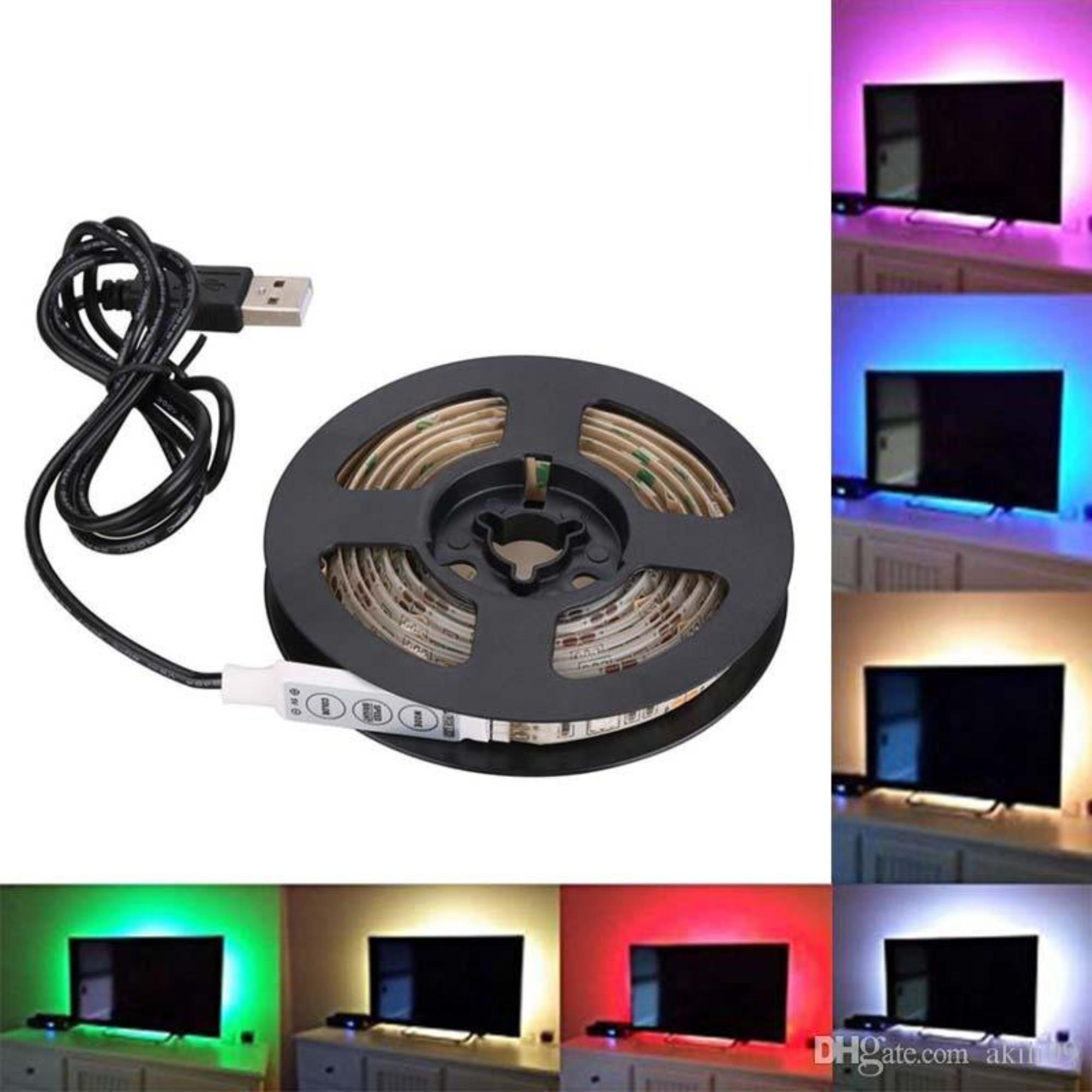 Fita De Led USB RGB 5 Metros C/ Controle Embutido P/ TV PC