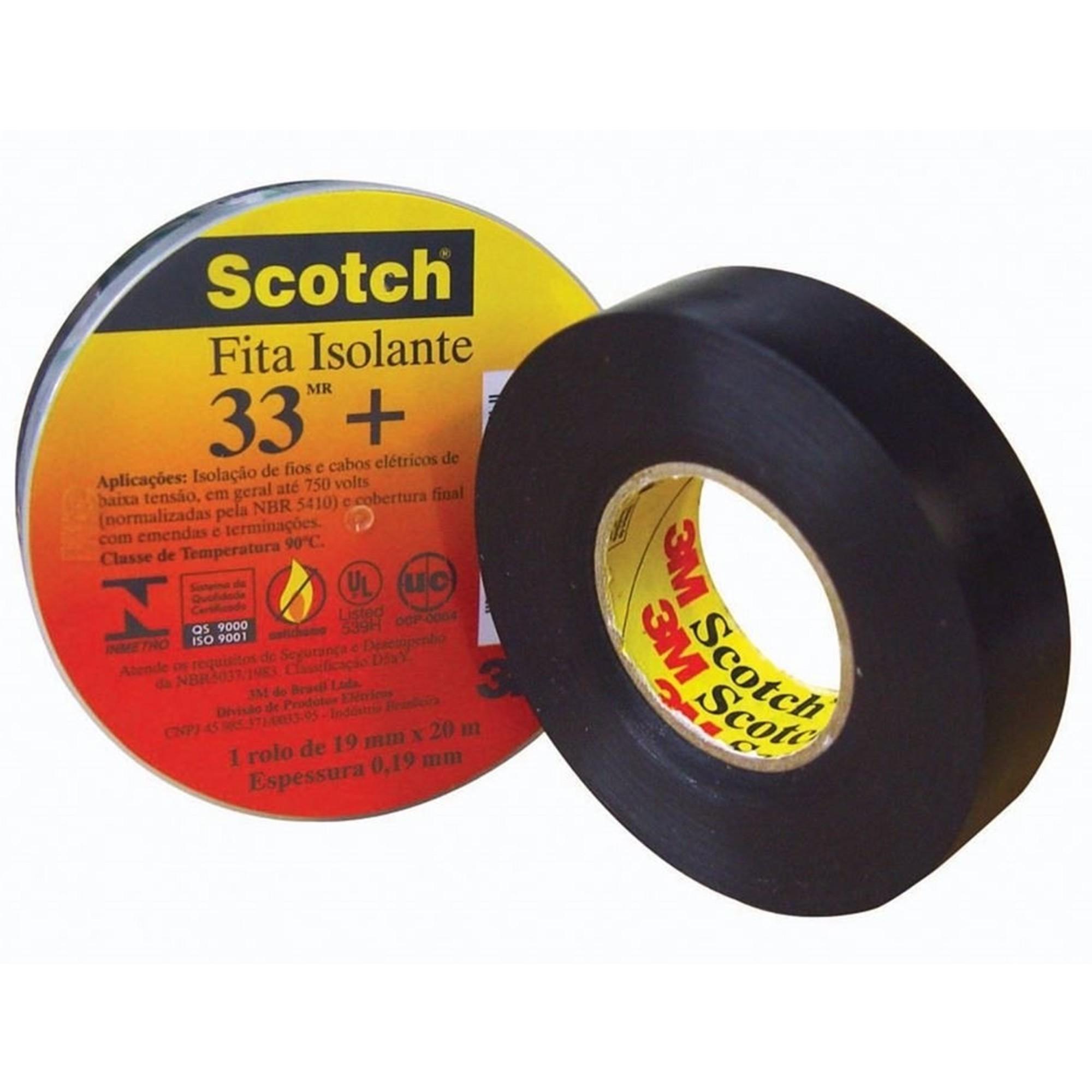 Fita Isolante Profissional 3M 33+ Scotch 105°c 20 Metros