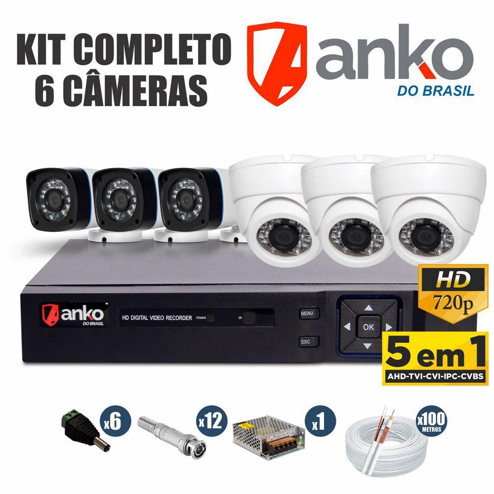 Kit CFTV Anko Completo 6 Câmeras AHD 720p DVR 8 Canais